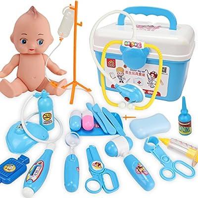 Yooap Jeu de jeu de médecin Jeux de simulation Jeu de rôle 21 PCS Kit médical avec des jouets d'outils médicaux de couleur bleu brillant Parfait pour les enfants, les tout-petits et les enfants
