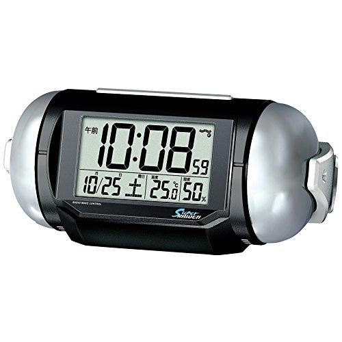 세이코 clock 자명종 전파 디지탈 대음량 PYXIS 피쿠시스 SUPER RAIDEN 슈퍼 라이덴 검정 메탈릭 NR523K SEIKO