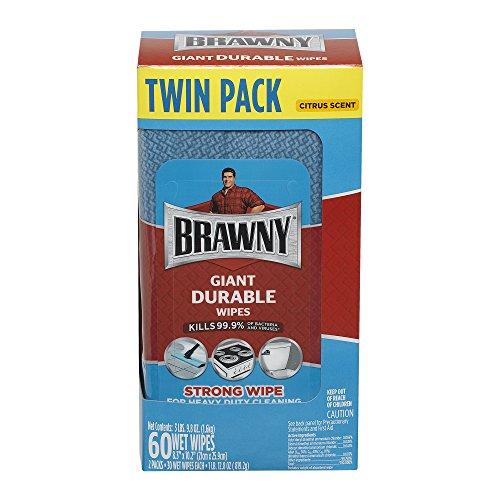 Brawny 33071/01 Giant Durable Wipes, 8.3'' x 10.2'', Blue, 30 Wipes/Pack,  2 Packs/Selling Unit (Pack of 60) by Brawny