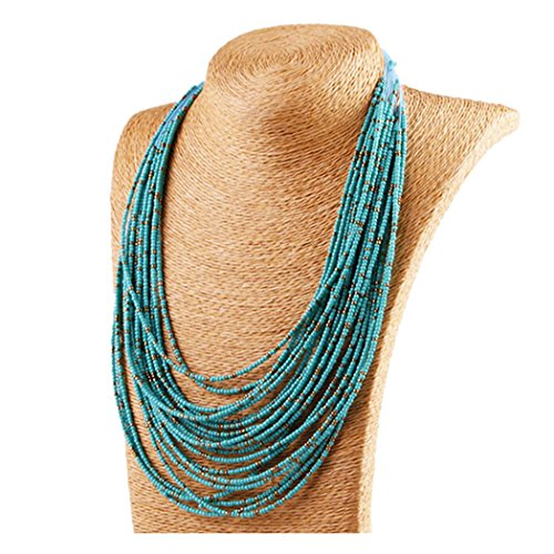 Inkach Bohemian Style Hand-Beaded Cluster Multilayer Pendant Beads Collar Choker Necklace Jewelry for women Girls (Blue) (Handmade Beaded Necklace)