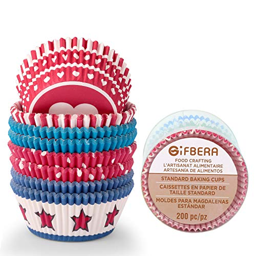 Gifbera Standard Cupcake Liners Bright Colors, Red/Blue Themed Baking Cups Paper, 200-Count