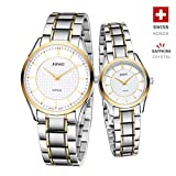 Jiusko Swiss - His Hers Couples Quartz Dress Wrist Watches - Two Tone - Sapphire - Tungsten - 325