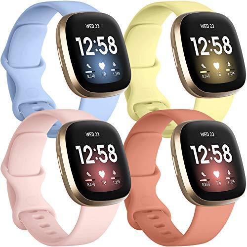4 Mallas Para Reloj Fitbit Sense Y Fitbit Versa 3 (pasteles)