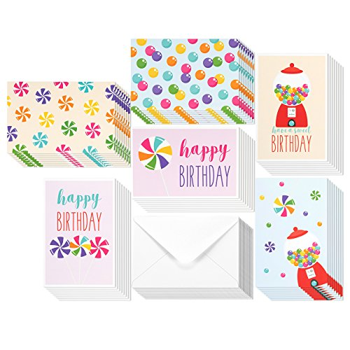 48 Pack Birthday Cards For Kids - Cute Happy Birthday Greeting Card Assortment Bulk Box Set - 6 Colorful Sweets Candy Gumball Designs - Envelopes Included - 4 x 6 Inches