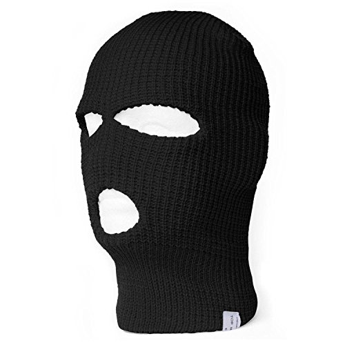 TopHeadwear 3-Hole Ski Face Mask Balaclava, Black -