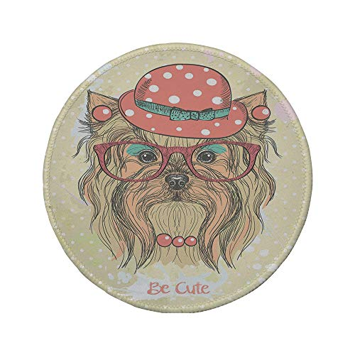 - Non-Slip Rubber Round Mouse Pad,Yorkie,Be Cute Portrait of an Adorable Dog with Earrings Necklace Glasses Hat Makeup,Light Brown Coral,11.8