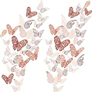 72 Pieces 3D Butterfly Wall Decals Sticker Wall Decal Decor Art Decorations Sticker Set 3 Sizes for Room Home