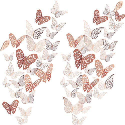 72 Pieces 3D Butterfly Wall Decals Sticker Wall Decal Decor Art Decorations Sticker Set 3 Sizes for Room Home Nursery Classroom Offices Kids Girl Boy Bedroom Bathroom Living Room Decor (Rose Gold) (Rose Mirror Garden)