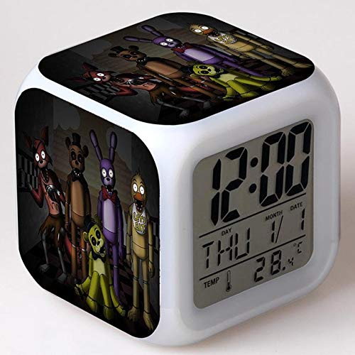 VIET FG Gmaes Anime Figure Five Nights at Freddy's Led Alarm Clock Flashing Colorful Touch FNAF Figma Freddy Toys for Children