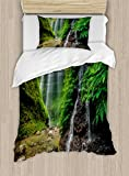Ambesonne Waterfall Duvet Cover Set Twin Size, Waterfalls side Valley in Indonesia with Southeast Asian Bushes above Hills, Decorative 2 Piece Bedding Set with 1 Pillow Sham, Green and Brown