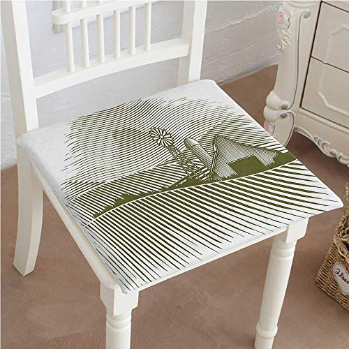 Office Cottage Modular (Mikihome Premium Chair Cushion Decor Wooden Cottage with Windmill Meadows and Shruberry Idyllic Landscape Decoration Comfort Memory PadCushions - Assorted Colors 30