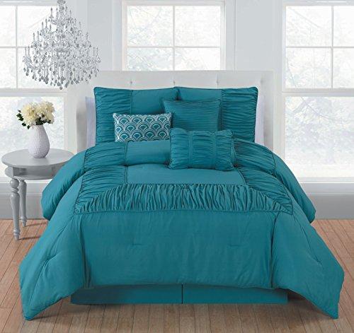 Avondale Manor Jules 7 Piece Comforter Set, Queen, Teal (Blue Comforter Queen Teal)