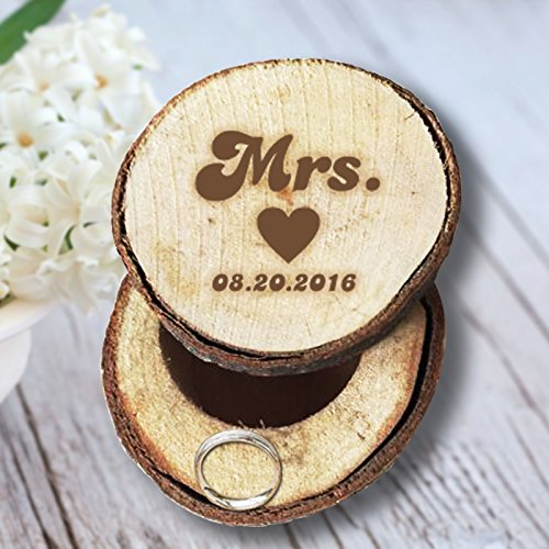 Custom Mrs and Date with Heart Engrave Wedding Wooden Ring Box Wedding Commemorative Ornament Significant Memory Gift and - Co Tiffany Heart &