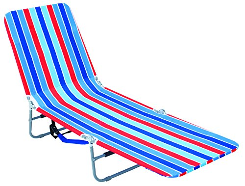 Rio Brands Backpack Lounger Multi Position, Red Blue and Turquoise Stripe - Folding Lounge Chair