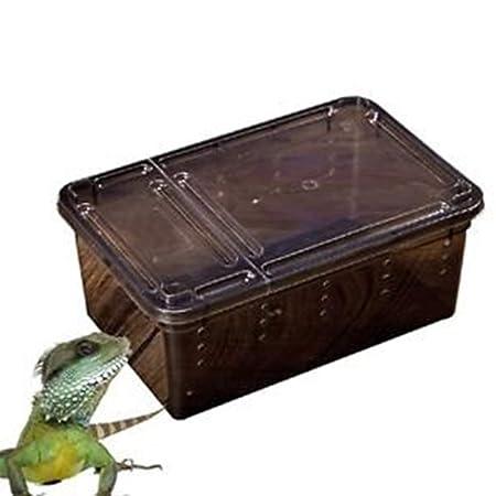 ACHICOO Reptiliano Caja de alimentación Escape a Prueba de Fuga Araña Cuerno Rana Tortuga Serpiente Cría Contenedor Negro Medio: Amazon.es: Hogar