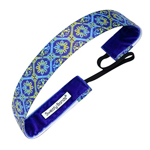 Sweaty Bands Womens Girls Headband - Non-Slip Velvet-Lined Athletic Hairband - Afterglow Blue