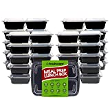Freshware Meal Prep Containers [21 Pack] 3 Compartment with Lids,...