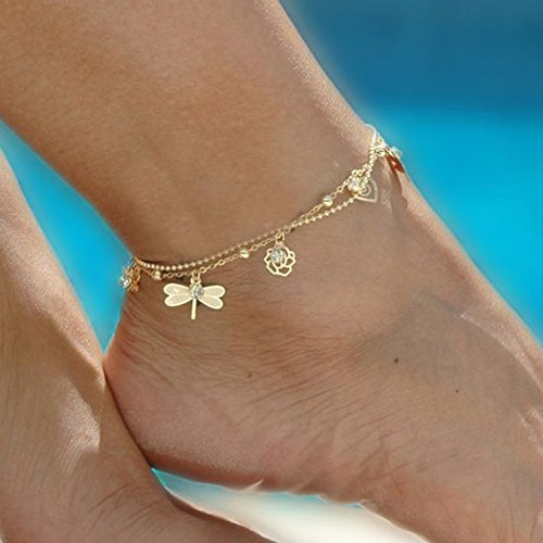 Gold Dragonfly Bracelets (Jovono Gold Anklet Bracelet Beach Foot Dragonfly Dose Jewelry Bells Anklet for Women and Girls)