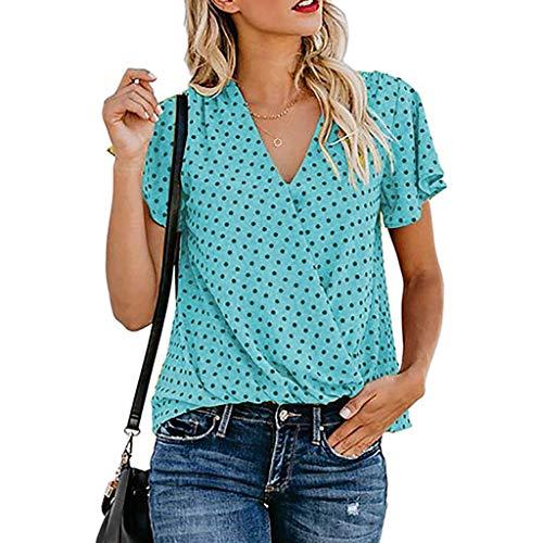 Sinfu Women's Short Sleeve Dot Print Cross Wrap V-Neck Shirt Fashion Butterfly Sleeve Tops Blouse Blue