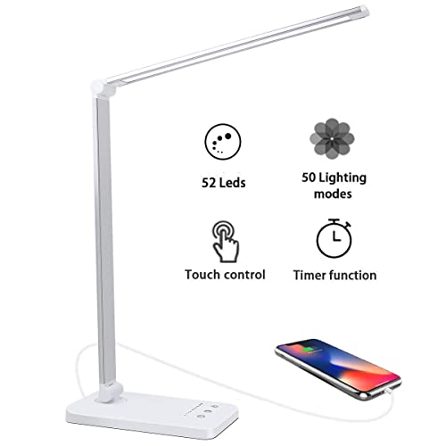 Lámpara Escritorio LED 5 10 Modos de Brillo con 52 SMD Leds Lámparas Mesa USB Recargable 2000mAh Plegable Flexo de Escritorio Control Táctil Protege a ojos