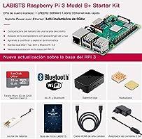 LABISTS Raspberry Pi 3 B+ Starter Kit con Micro SD de 32GB Clase 10, 5V 3A Adaptador de Corriente con Interruptor, 2 Radiadores, Cable HDMI, Caja de Calidad, Lector de Tarjetas, Caja