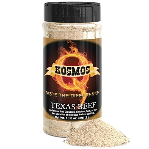 Texas Brisket Rub (Texas Beef 13.8oz.Shaker Bottle - Barbecue Rub - GLUTEN FREE - NO MSG Rub - Best All Purpose Rub and Seasoning - Use as Chicken Rub, Steak Rub, Salmon Rub, Hamburger Rub and Pork Rub - Award Winning Competition BBQ Rub)