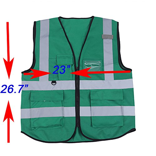 ZOJO High Visibility Safety Vests,Lightweight Mesh Fabric, Wholesale Reflective Vest for Outdoor Works, Cycling, Jogging, Walking,Sports - Fits for Men and Women (Pack of 10, Green) by zojo (Image #3)