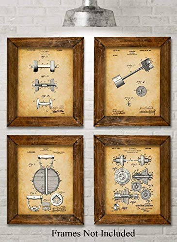 Original Workout Equipment Patent Art Prints - Set of Four Photos (8x10) Unframed - Makes a Great Gift Under $20 for Home Gym Decor