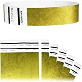 "Goldistock Original Series - 3/4"" Tyvek Wristbands Metallic Gold 200 Count - Event Identification Bands (Paper - Like Texture)"