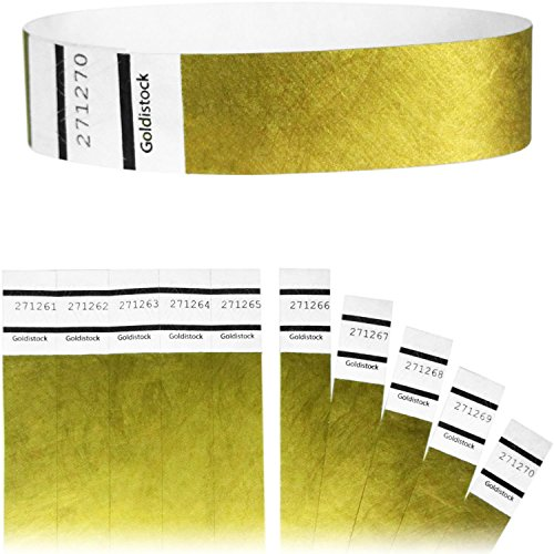 "Goldistock Original Series - 3/4"" Tyvek Wristbands Metallic Gold 400 Count - Event Identification Bands (Paper - Like Texture)"
