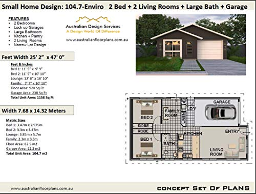 2 Bedroom Granny Pod House Plan - Small Home with Garage - Accessory dwelling unit: Full  Architectural Concept Home Plans includes detailed floor plan ... plans (2 Bedroom House Plans Book 10471)