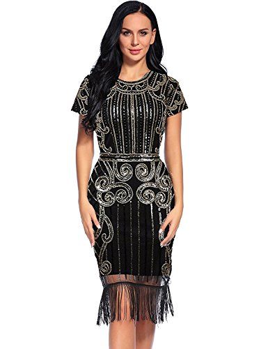 Plus Size Costumes Dresses (Flapper Girl Women's 1920s Vintage Inspired Sequin Embellished Fringe Gatsby Flapper Dress (XXL, Glam Gold))