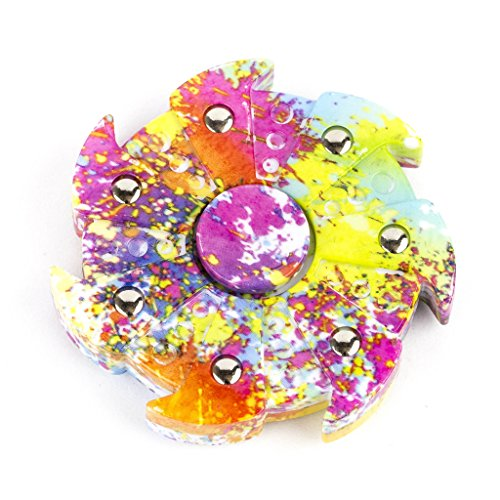 Lux Accessories Printed Paint Pinwheel Trendy Party Favor Fidget Hand Spinner