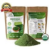 Moringa Oleifera Leaf Powder Organic 2oz Non GMO multivitamin for metabolism, weight, protein & mood boost - in smoothies & shakes - vegans & vegetarians - iron & amino acids supplements