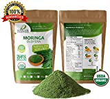 Moringa Oleifera Leaf Powder Organic 4oz 1/4lb. Non GMO multivitamin for metabolism, weight, protein & mood boost: in smoothies & shakes: vegans & vegetarian: iron & amino acids supplements For Sale