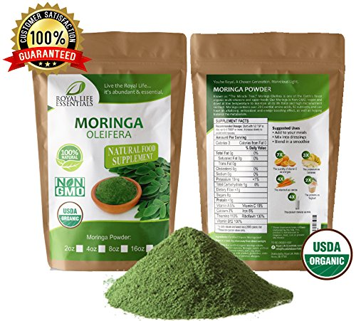 Moringa Oleifera Leaf Powder Organic 16oz – 1lb. Non GMO multivitamin for metabolism, weight loss, protein & mood boost – in smoothies – vegans & vegetarians – iron & amino acids supplements
