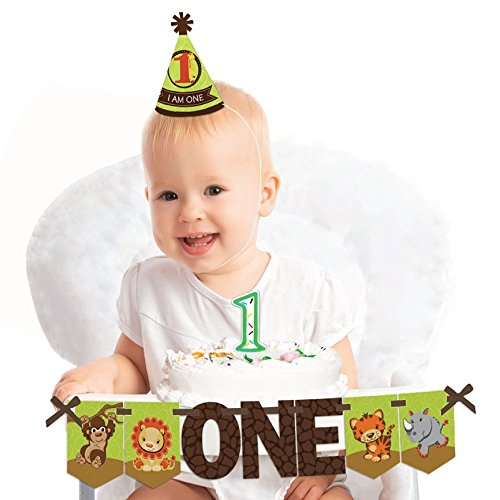 Big Dot of Happiness Funfari - Fun Safari Jungle 1st Birthday - First Birthday Boy or Girl Smash Cake Decorating Kit - High Chair Decorations for $<!--$14.99-->