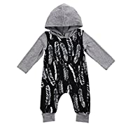 GRNSHTS Baby Boys Girls Feather Print Romper With Hoodies (70/0-6 Months, Grey and Black)