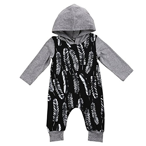 GRNSHTS Baby Boys Girls Feather Print Romper with Hoodies 70/03 Months Grey and Black