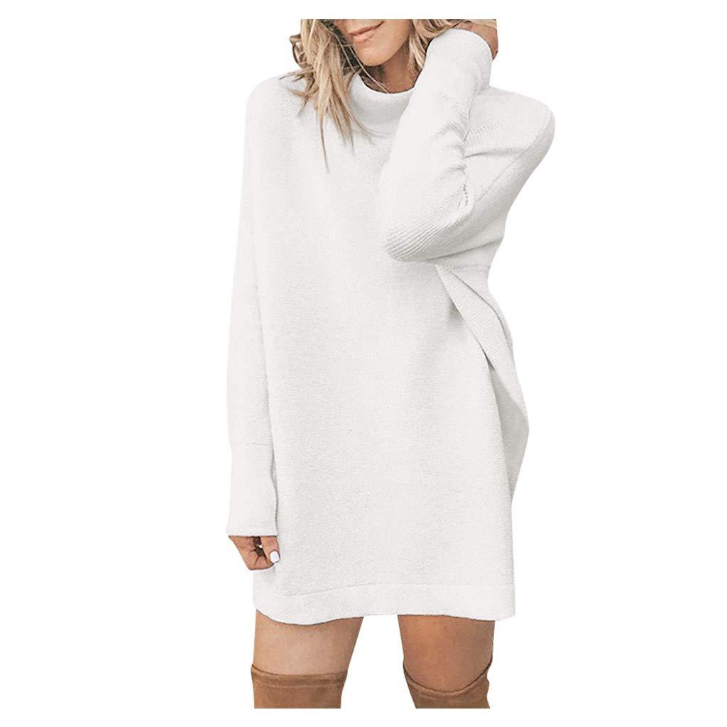 holitie V/êtements Pull Robe Courte Femme Hiver Manche Longue Casual Mini Dress Col Roul/é Tricot Chandails Blouse El/égant Oversize L/âche Pullover
