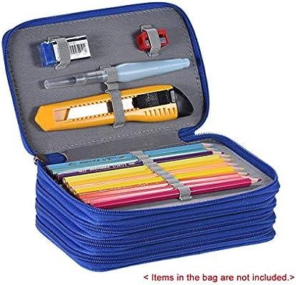 HaiQianXin Portátil 72 Soportes 4 Capas Estuche de Lápiz con Cremallera Multifuncional Práctico Gran Capacidad Bolso de Lápiz de Color Bolsa para Estudiante Materiales de Arte (Color : Azul): Amazon.es: Deportes y