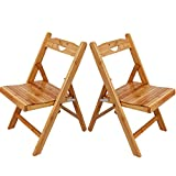Childrens Wooden Folding Chairs Asunflower Kids Folding Chair Set, Space Saver Wooden Stool w/ Back for Outdoor/Indoor