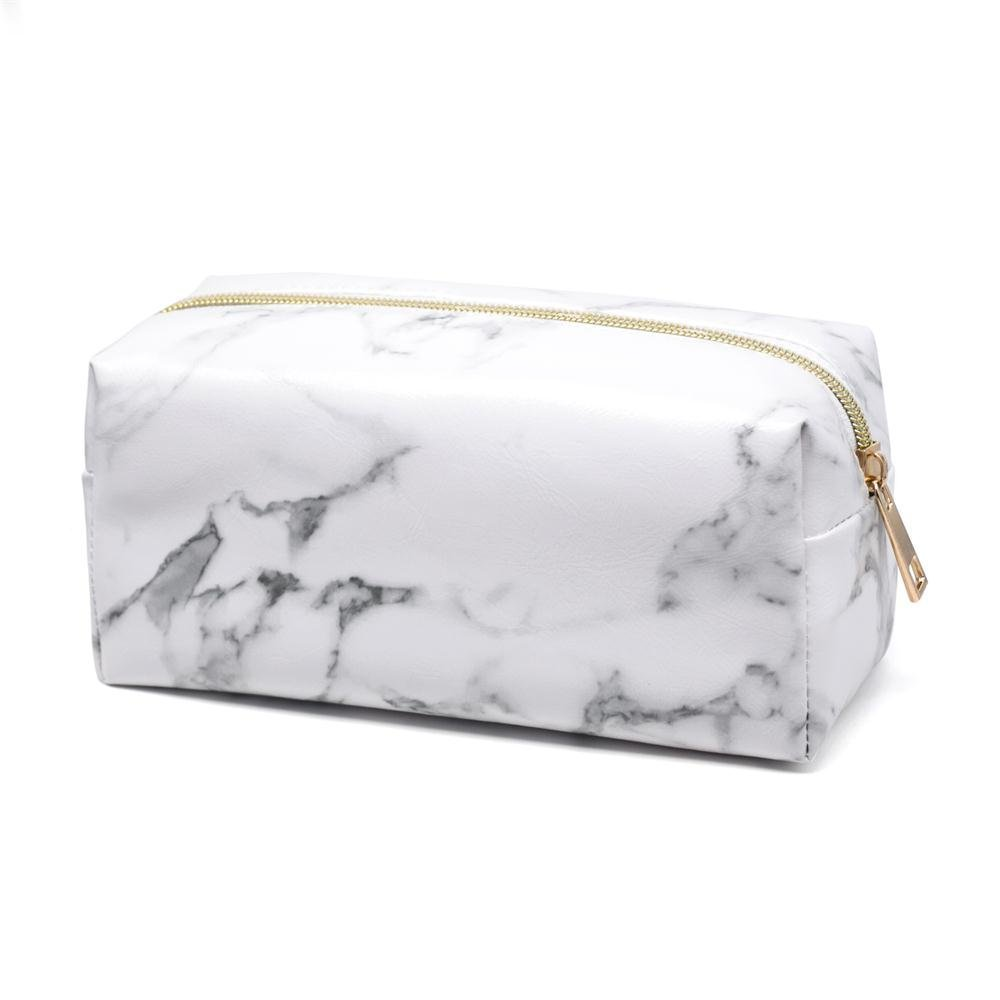 Marble Makeup Bag Portable Multifunctional Lightweight Travel Cosmetic Tool Storage White Square Wash Bag for Women Girls Ladies、Laptop Power Adapter, Data Cables, Cellphone, Power Bank etc Fengus