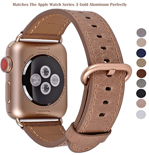 Price comparison product image PEAK ZHANG Apple Watch Band 38mm Women Vintage Caramel Genuine Leather Replacement Wrist Strap with Series 3 Gold Metal Adapter and Buckle for Iwatch Series 3 Gold Aluminum