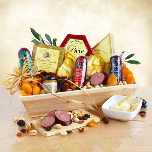 Meat and Cheese Gourmet Gift Assortment | Balsamic Vinegar, Olive Oil, Salami, Sausage, Cheese, Nuts and Dried Fruit