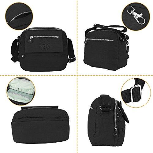 Black Travel Durable Crossbody Bags Pockets Nylon Women Medium for with in 64pPnOO
