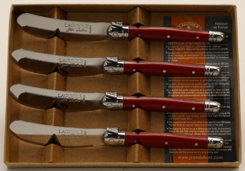 Jean Dubost Laguiole 4 Spreaders in Craft Box, Red