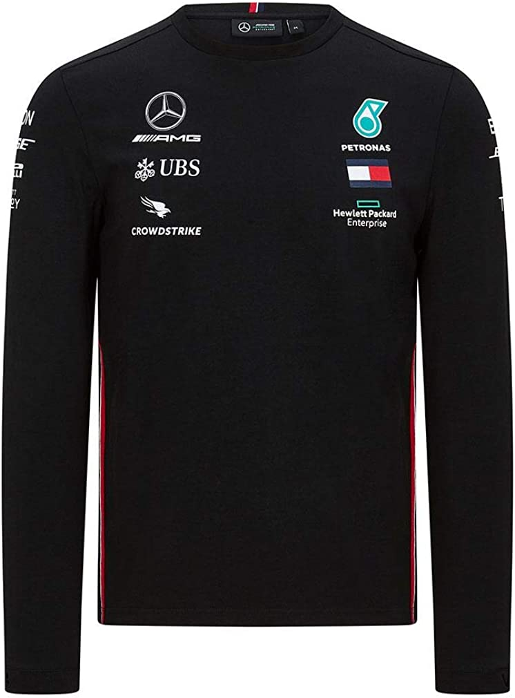 Mercedes Benz AMG Petronas F1 2020 Mens Long Sleeve Team Driver T-Shirt Black//White