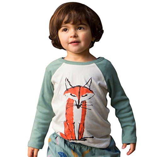 TIFENNY Cute Baby Kids Boys Girls Long Sleeve Fox Print T-Shirt Tops Outfits (3T, Green)