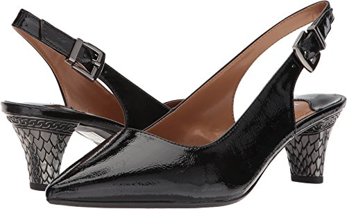 J.Renee Womens Mayetta Black 11 W (Black Leather Slingback Heels)